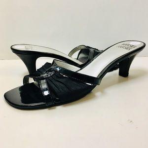 Mootsie Tootsie Black slides mules heels sandals 9